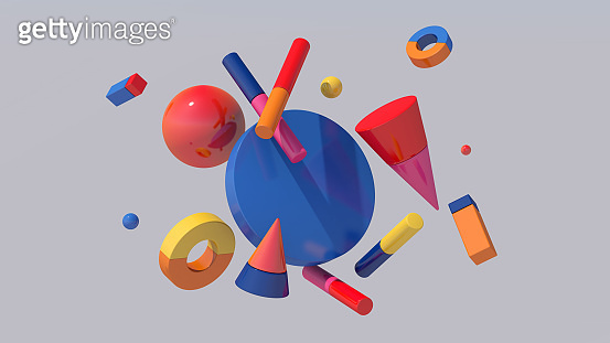 Bright colorful geometric shapes. Abstract illustration, 3d rendering.