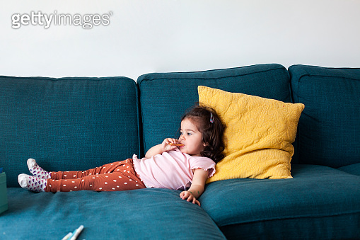 Adorable toddler girl at home