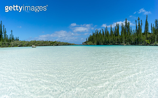 beautiful seascape of natural swimming pool of Oro Bay, Isle of Pines, New Caledonia
