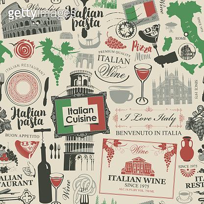 seamless pattern on the theme of Italian cuisine
