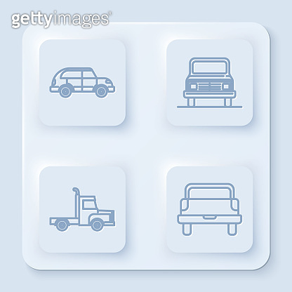 Set line Hatchback car, Car, Delivery cargo truck vehicle and Pickup truck. White square button. Vector
