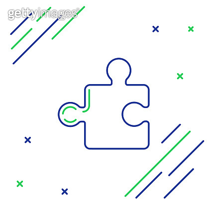 Blue and green line Piece of puzzle icon isolated on white background. Modern flat, business, marketing, finance, internet concept. Colorful outline concept. Vector Illustration