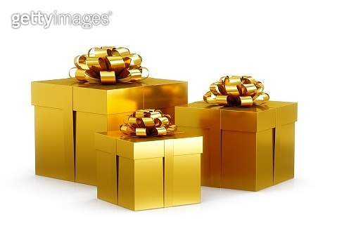 3D Rendering Three Golden Gift Boxes on white background