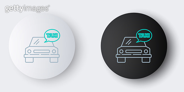 Line Taxi car icon isolated on grey background. Colorful outline concept. Vector