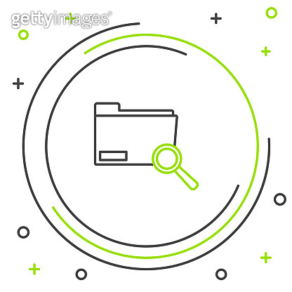 Black and green line Search concept with folder icon isolated on white background. Magnifying glass and document. Data and information sign. Colorful outline concept. Vector Illustration