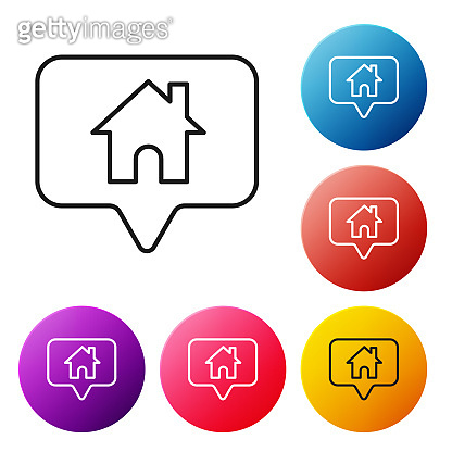 Black line Map pointer with house icon isolated on white background. Home location marker symbol. Set icons colorful circle buttons. Vector Illustration