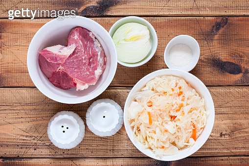 Step-by-step preparation of sauerkraut stew with meat, step 1 - preparation of the necessary ingredients, top view, horizontal