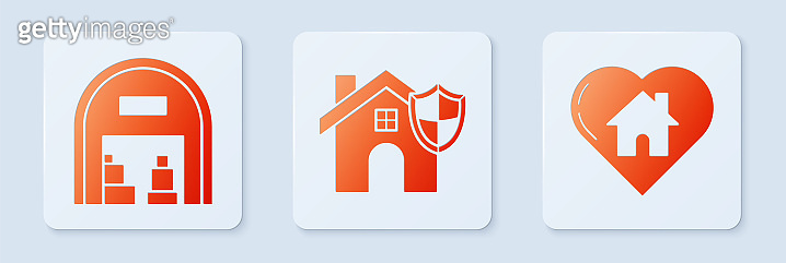 Set House with shield, Warehouse and House with heart shape. White square button. Vector