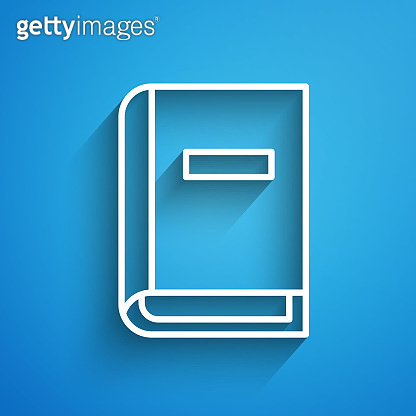 White line User manual icon isolated on blue background. User guide book. Instruction sign. Read before use. Long shadow. Vector Illustration