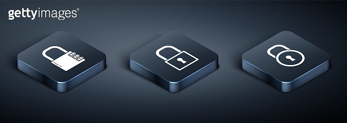 Set Isometric Safe combination lock , Lock and Lock icon. Vector