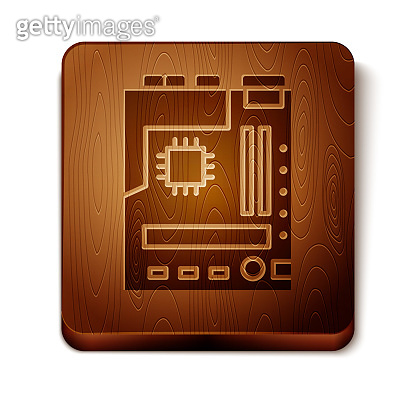 Brown Electronic computer components motherboard digital chip integrated science icon isolated on white background. Circuit board. Wooden square button. Vector Illustration