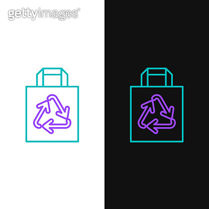 Line Paper shopping bag with recycle icon isolated on white and black background. Bag with recycling symbol. Colorful outline concept. Vector
