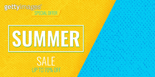 Summer Sale abstract blue sea water and yellow sand background with empty place for text. Template for summer sale design frame, fashion gift card, banner, poster, flyer. Vector illustration.