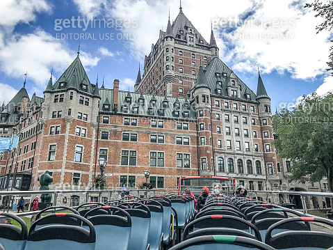 Top of tour bus with Chateau Frontenac