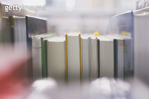 Reading and science concept: Books in the public library. Close up picture.