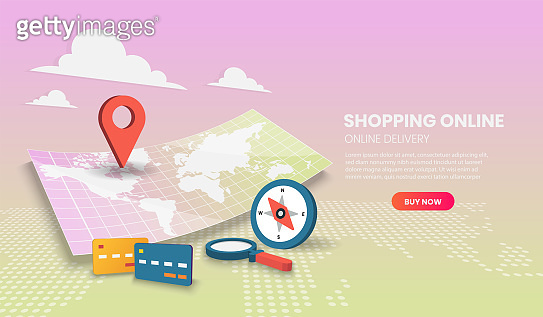 Shopping online with house concept. Online delivery service.3d vector illustration.