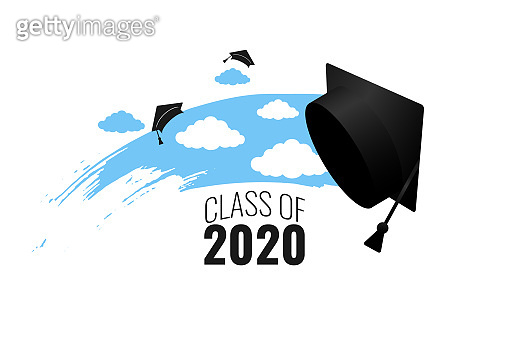 Class of 2020. Hand drawn brush blue sky stripe, clouds, number with education academic cap. Template for graduation party design, high school or college congratulation graduate. Vector illustration.
