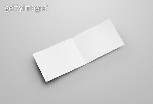 Empty open landscape with realistic shadows. Horizontal bifold for design presentation.