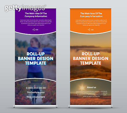 Layout of vector roll up banner for presentation and media advertising, poster for business and company.