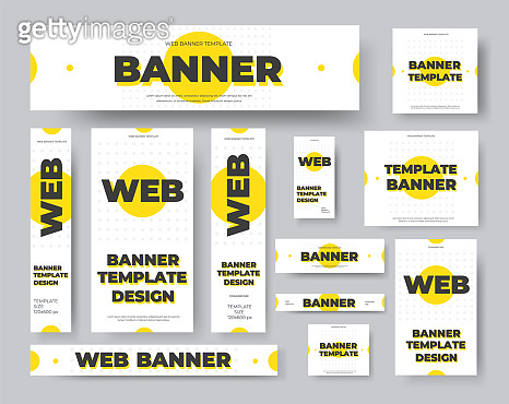 Rectangular, square, horizontal and vertical vector web banners with yellow circles on a white background.