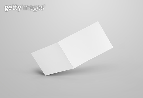 Horizontal bifold design for business, isolated on gray background.