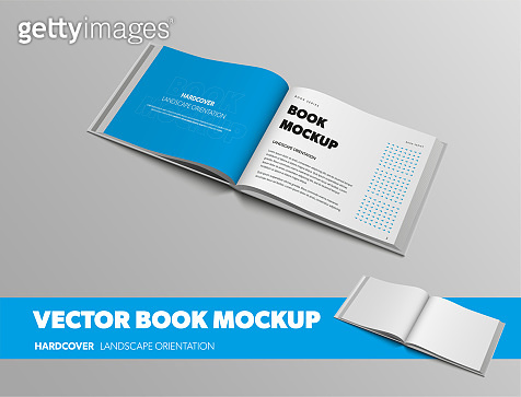 Standard size open book template with abstract pattern, with blue page, landscape orientation, isolated on gray background.