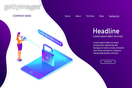 Landing page template with isometric concept of voice recognition, unlock phone, website main page, smartphone security, information safety