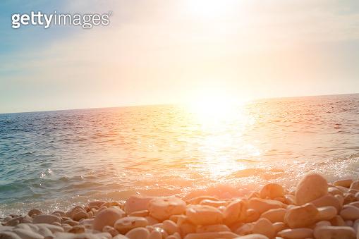 Exotic blue tropical ocean / sea tropical scenery. Sunlight on a horizon.