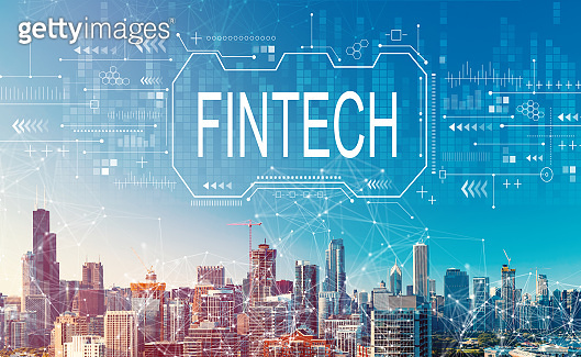 Fintech concept with downtown Chicago cityscape
