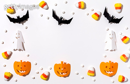 Halloween theme with paper craft decorations