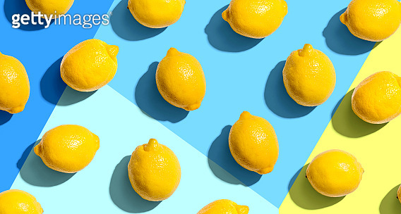 Fresh yellow lemons overhead view