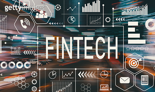 Fintech with motion blurred traffic