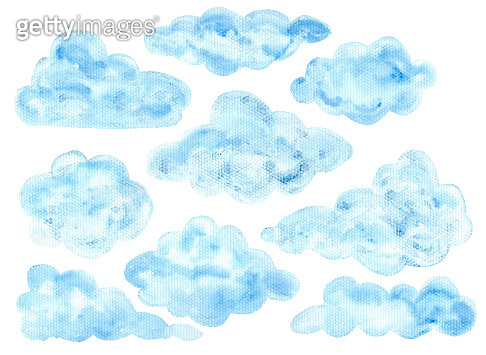 Cute watercolor blue fluffy clouds elements
