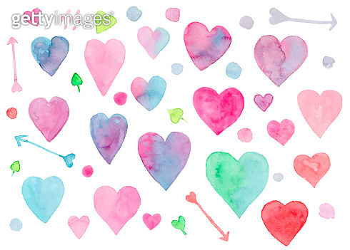 Collection of watercolor hearts for Valentines day
