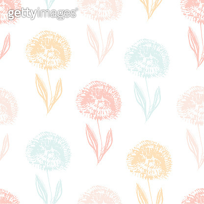 Cute light pattern with textured dandelion flower