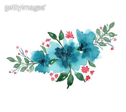 Bright watercolor blue flowers arrangement