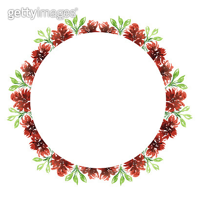 Watercolor round wreath in warm autumn red colors