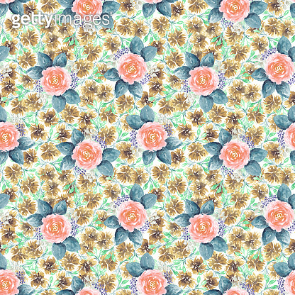 Beautiful watercolor pattern with pink roses