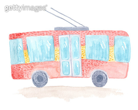 Cute colorful vector watercolor trolleybus
