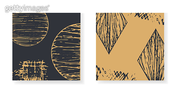 Elegant black and gold textured elements cards