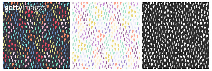 Set of simple patterns with mess of dot and shapes