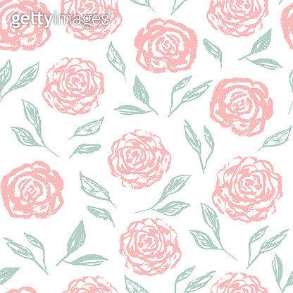 Tender vintage pattern with scratched white roses
