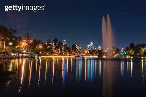 Los Angeles CA night long exposure of buildings and freeways