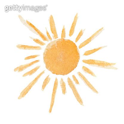 Cute vector watercolor shiny yellow sun