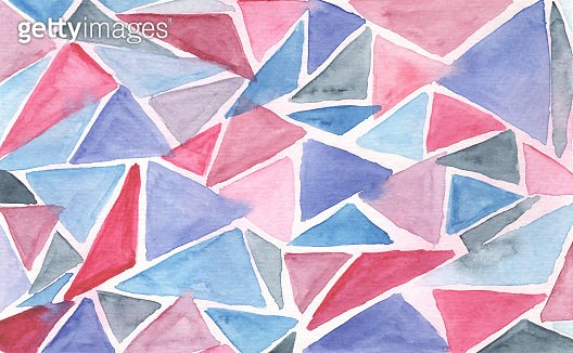 Blue and pink triangular watercolor background