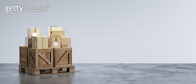 3d-rendering interior of urban warehouse with shipping equipment.