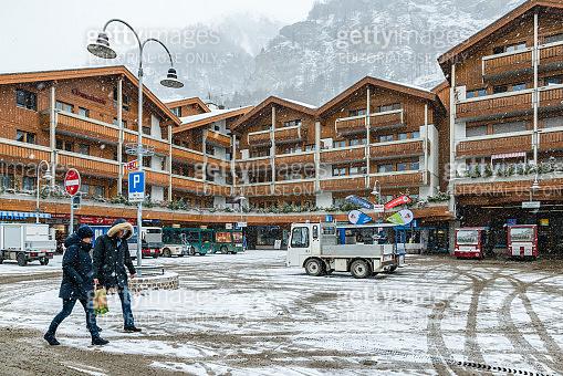 Station square in Zermatt village in Mattertal, Switzerland
