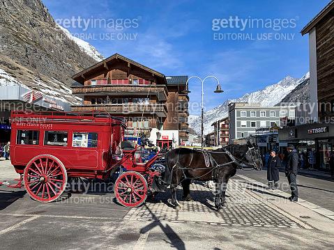 Main street in Zermatt village in Mattertal, Switzerland