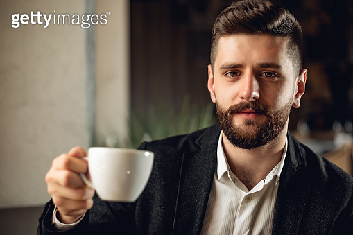 Adult bearded man indoors in cafe. Lifestyle concept photo with copy space. Look of modern masculine human with cup of drink (tea or coffee)