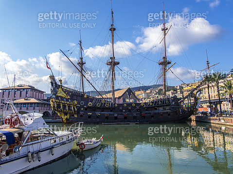 The galleon Neptune in the Old Harbour of Genoa, Italy